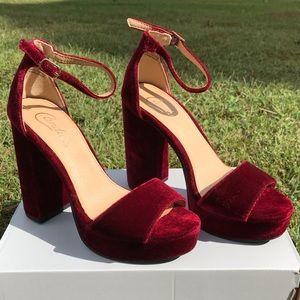 Candie's Red Velvet Platform Heels